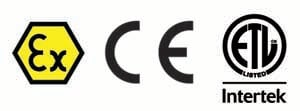 Certifications for IECEx CE ETL