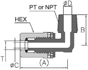 Fit-One PFA Fitting Male Elbow Diagram