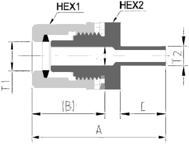 Fit-One PFA Fitting Reducing Union Adaptor T Type Diagram