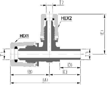 Fit-One PFA Fitting Reducing Union Tee Adapter T Type Diagram