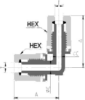 Fit-One PFA Fitting Union Elbow Diagram